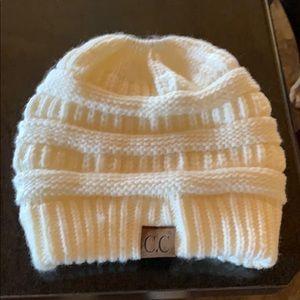Cream colored stocking cap
